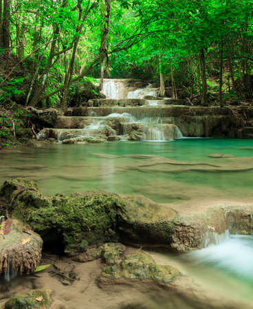 Deep forest waterfall in Huay Mae Kamin Kanjanaburi Thailand