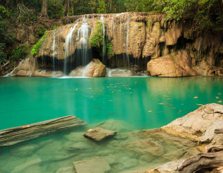 Deep forest waterfall at Erawan waterfall National Park Kanjanaburi Thailand Stock Photo