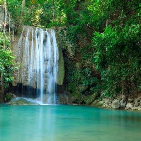 Deep forest waterfall at Erawan waterfall National Park Kanjanaburi Thailand Stock Photo