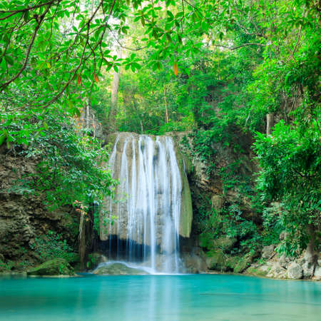 kanchanaburi: Deep forest waterfall at Erawan waterfall National Park Kanjanaburi Thailand Stock Photo