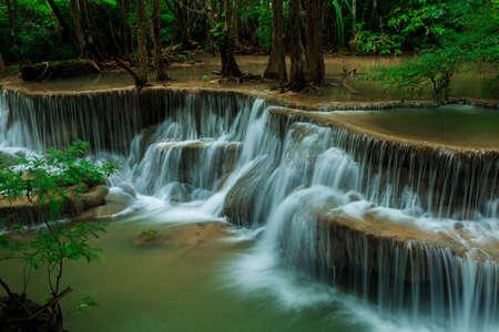 kanchanaburi: Deep forest waterfall at Huay Mae Kamin waterfall National Park Kanjanaburi Thailand