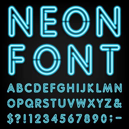 numeros: Luz de neón del alfabeto fuente. Vectores