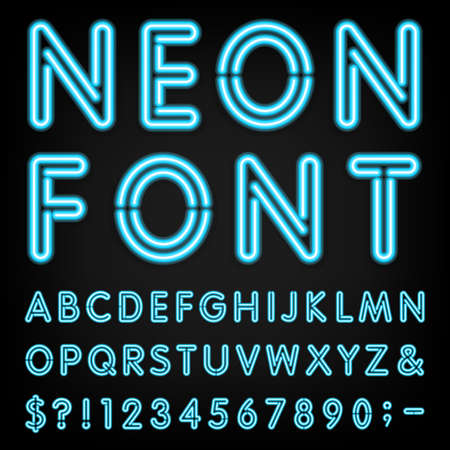letters of the alphabet: Neon Light Alphabet Font.