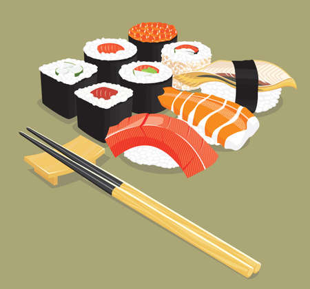 hashi: illustration of various types of sushi.