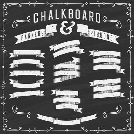 Chalkboard Banners Ribbons and Design Elements Illustration.