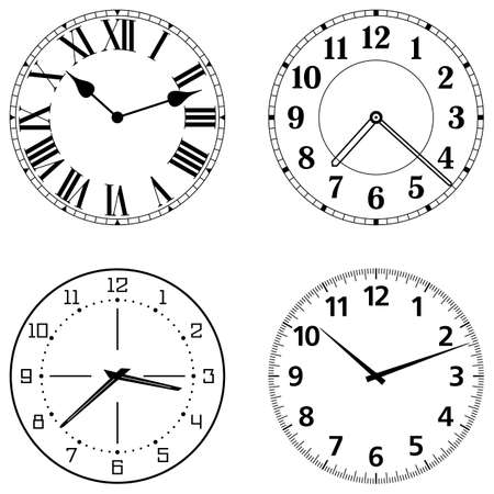 replace: Set of different clock faces. Editable Clock easily remove and replace hands and design.