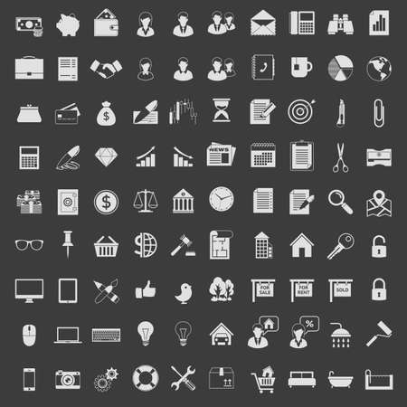 Icons set in one color. Light on dark. Çizim