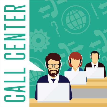 customer service concept. Callcenter. Vector Illustratie