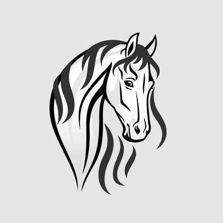 caballos negros: La cabeza de caballo en la ilustraci�n en blanco y negro