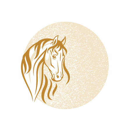 The Horse on the distressed background Vector Illustration