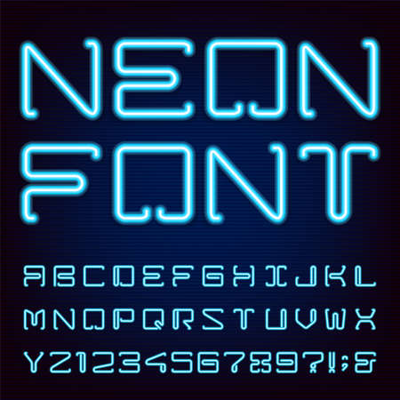 Neon Blue Light Alphabet Vector Font. Techno style blue neon tube letters on dark background. Type letters numbers and punctuation marks. Çizim