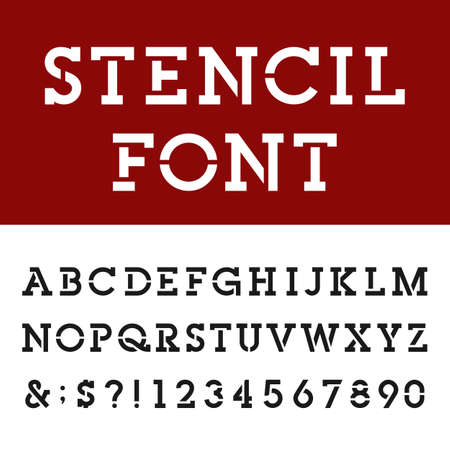 stencil art: The Stencil Slab Serif Alphabet Vector Font Type letters numbers and punctuation marks. The Strencil Slab Serif Vector Bold Font.