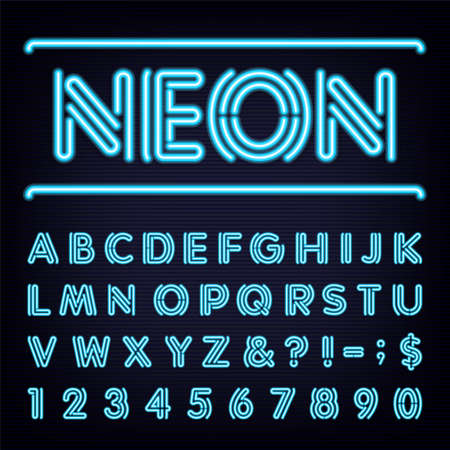 alphabetical letters: Neon Blue Light Alphabet Font.