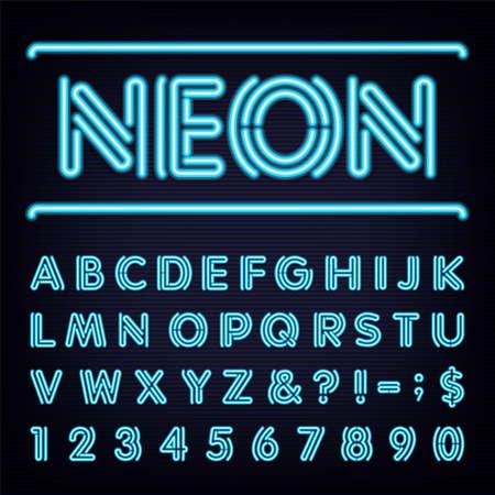numeros: Neon Light Blue Alphabet Fuente. Vectores