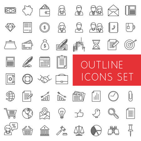 electronic banking: Outline icons set for web and applications.