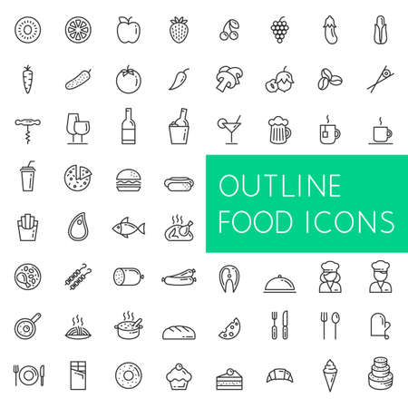 Outline food icons set for web and applications. Line icons of food fruits and vegetables drinks and fast food meat and fish confectionery and bakery etc.