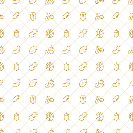 Nuts Seamless Pattern Stock Vector. Outline nuts icons on the seamless vector background. Çizim