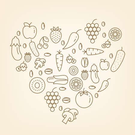 vegetarianism: Heart made of fruits and vegetables Stock Vector Vector heart made of different outline fruits and vegetables icons on the light background