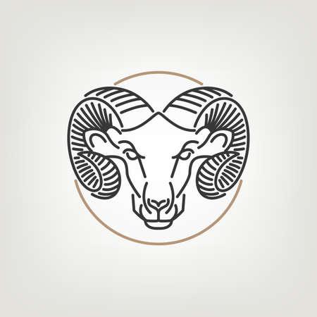 De Ram Head Outline Icon Design. De ram hoofd design icoon in mono lijn stijl op de lichte achtergrond.
