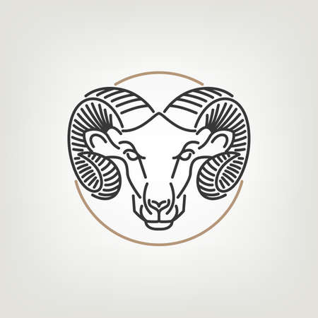 cabras: El Esquema Icono Ram Head Design. La cabeza de carnero de diseño icono de estilo de línea mono en el fondo ligero. Vectores