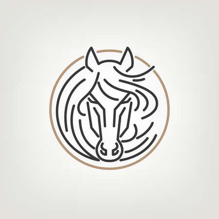 carreras de caballos: El Esquema Icono cabeza de caballo Diseño. La cabeza de caballo de diseño icono de estilo de línea mono en el fondo ligero.