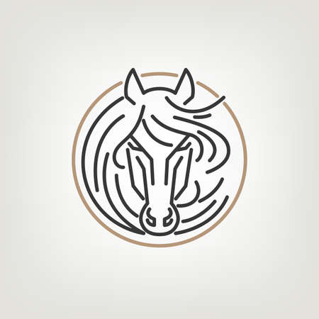 horseback riding: The Horse Head Outline  Icon Design. The horse head  icon design in mono line style on the light background.