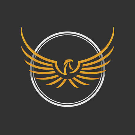 aigle royal: Aigle Logo Icône Template Design. Vectoriel. Aigle Logo Icon Design. Aigle stylisé déploie ses ailes. Couleur or et d'argent sur le fond sombre.