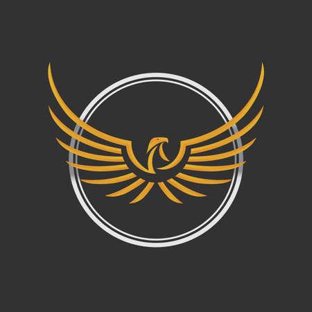 aguila real: Logo del icono de Eagle Plantilla de diseño. Stock Vector. Icono de la insignia del águila Diseño. Águila estilizada extiende sus alas. El color de oro y plata en el fondo oscuro.