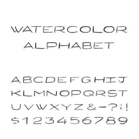 Watercolor Alphabet. Painted Vector Font. Handpainted black watercolor letters on the white background. Type letters numbers and punctuation marks.