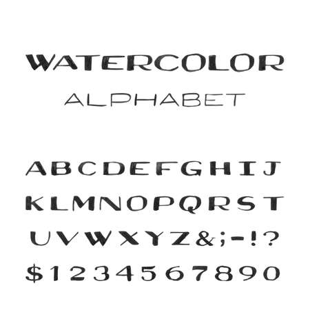 punctuation marks: Watercolor Alphabet. Painted Vector Font. Handpainted black watercolor letters on the white background. Type letters numbers and punctuation marks.