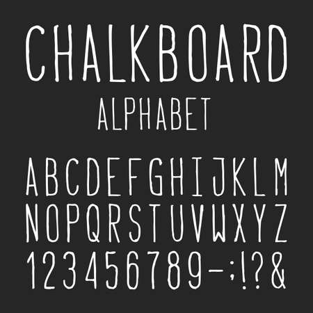 punctuation marks: Chalkboard Alphabet Vector Font. Type letters numbers and punctuation marks. Distressed chalk vector font on the dark background. Hand drawn letters.