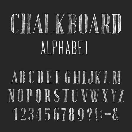 distressed: Chalkboard Alphabet Vector Font. Type letters numbers and punctuation marks. Distressed chalk vector serif font on the dark background. Hand drawn letters.