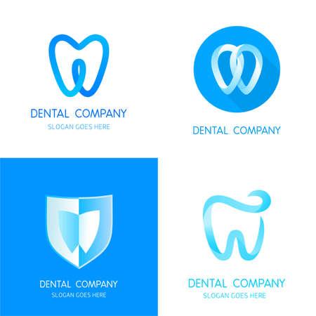 dientes: Plantillas dentales. Muestras abstractas vector dientes. Un conjunto de icono dental elementos de plantilla de diseño. Muestras abstractas estomatología vectoriales.