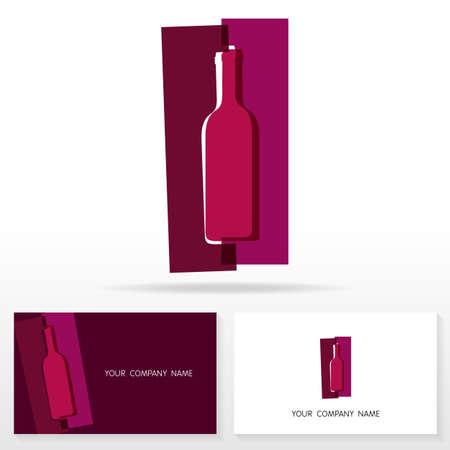sommelier: Icono Vino elementos de plantilla de dise�o ilustraci�n vectorial. Vino icono del dise�o del vino abstracto botella vector de signos. Plantillas de tarjeta de visita. Vectores