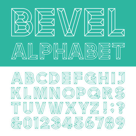 outline of: Beveled Alphabet Vector Font. Beveled block outline letters numbers and punctuation marks. Illustration