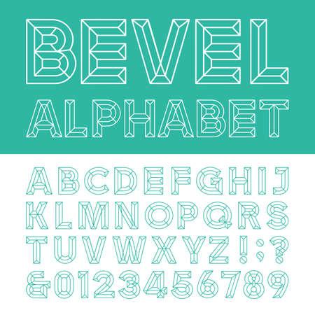 outline of: Beveled Alphabet Vector Font. Beveled block outline letters numbers and punctuation marks. Illustration
