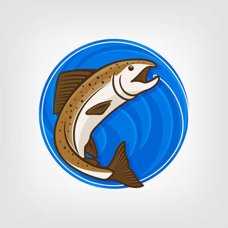 salmon leaping: Fishing   template Vector Illustration. Vector fishing  . Catching salmon fish on the hook. Round blue background.