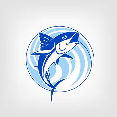 ロゴのテンプレートを釣りマグロ ベクトル記号です。釣りのベクトルのロゴ。フックにマグロをキャッチします。ラウンド青色の背景色。  イラスト・ベクター素材