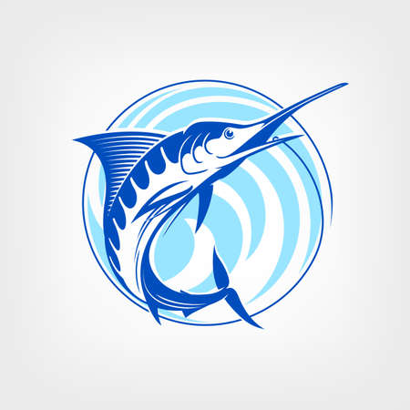 blue fish: Fishing logo template - Blue marlin vector sign. Vector fishing logo. Catching marlin on the hook. Round blue background.