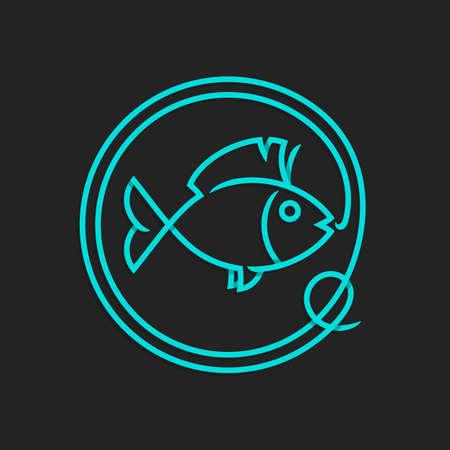 pescando: Pesca logotipo de la plantilla - Muestra abstracta del vector. La captura de peces en el anzuelo. Vectores