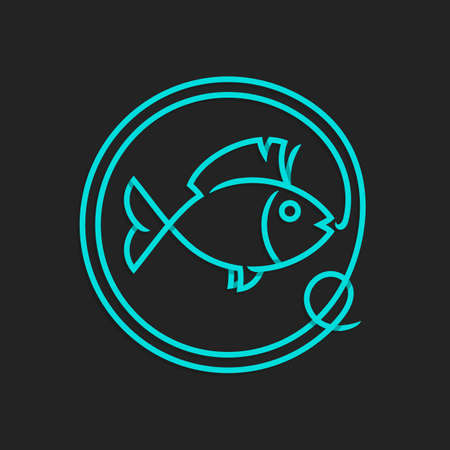 Fishing logo template - Abstract vector sign. Catching fish on the hook. Illustration