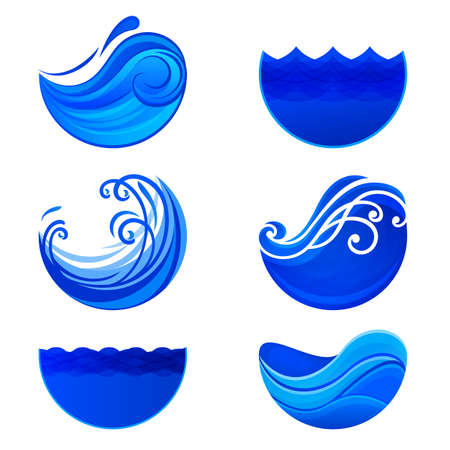 wave vector:  waves and water . Abstract vector signs. Water  templates. Set of wave abstract symbols. Illustration