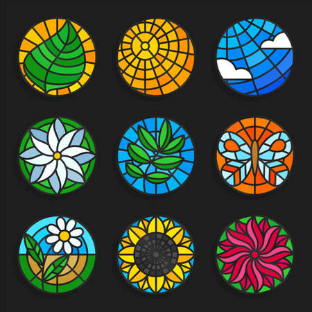 sun flowers: Set of stained glass summer icons - Stock vector illustration. Nature vector icons in stained glass style. Sun, sky, flowers, leafs etc. Round shape. Illustration