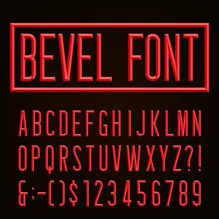 レトロなベベルの狭いフォントです。ベクトルのアルファベット。ベベルの狭いブロック文字、数字および句読点。株式ベクトルを見出し、ポスタ