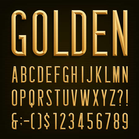 Golden Beveled Narrow Font. Vector Alphabet. Gold effect beveled narrow letters, numbers and punctuation marks. Stock vector for your headlines, posters etc.