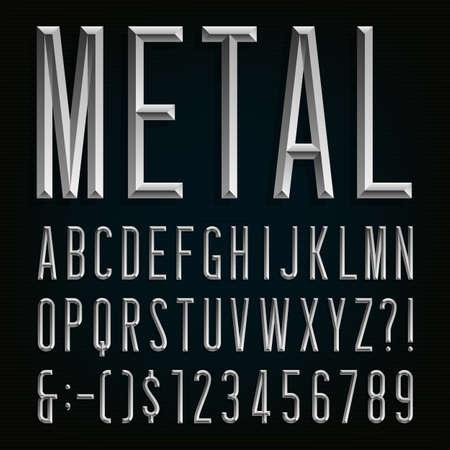 금속 좁은 글꼴을 경 사진. 벡터 알파벳입니다. 금속 효과는 좁은 문자, 숫자 및 문장 부호를 경 사진. 당신의 헤드 라인, 포스터 등의 스톡 벡터