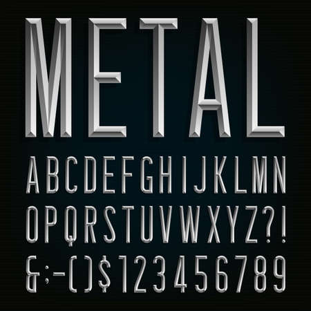 texts: Metal Beveled Narrow Font. Vector Alphabet. Metal effect beveled narrow letters, numbers and punctuation marks. Stock vector for your headlines, posters etc.