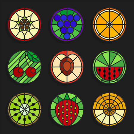 water stained: Set of stained glass fruits icons - Stock vector illustration. Fruits icons in stained glass style. Round shape.
