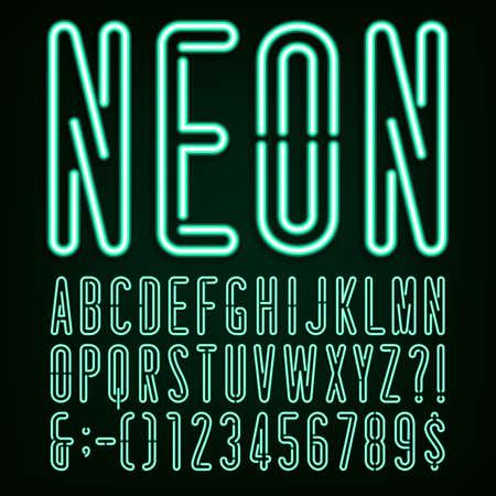ネオン グリーン光アルファベット ベクター フォントです。幅の狭い文字、数字および句読点。暗い背景にネオン管文字。株式ベクトルを見出し、