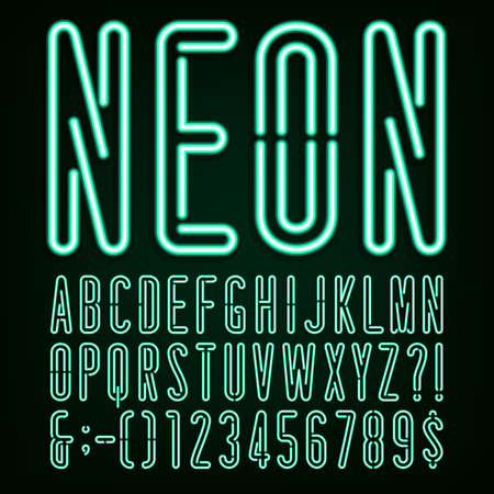 Neon Green Light Alphabet Vector Font. Narrow type letters, numbers and punctuation marks. Neon tube letters on a dark background. Stock vector for your headlines, posters etc. Иллюстрация